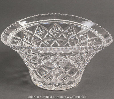 Antique STUART Crystal Wheel Cut BOWL Upturned Bonnet / Basket Form EXCL. COND.