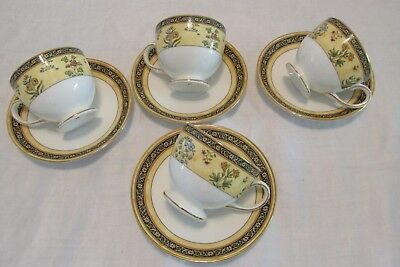 4 Wedgwood INDIA Pattern Footed CUPS & SAUCERS England Estate EUC 4, 8 or 12