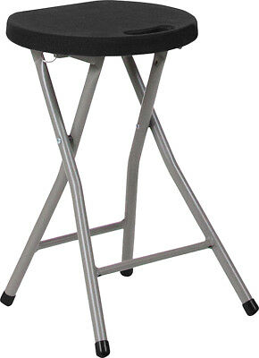 Foldable Portable Petite Stool with Black Plastic Seat and Titanium Frame