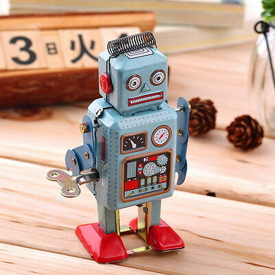 Vintage Mechanical Clockwork Wind Up Metal Walking Robot Tin Toy Kids Gift WN