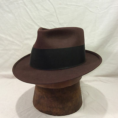 24d35b5ea CHOCOLATE BROWN ROYAL Stetson Fedora Men's Vintage Hat with Black Back Bow  Band