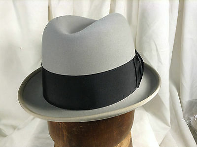 9ec4a6144ee Vintage Wormser Midas Fedora Hat Royal Luxury Light Gray Color Wide Ribbon Sz  7