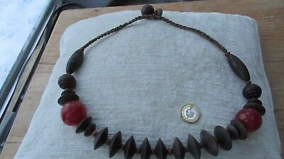 Vintage chunky wood and red bead long necklace rope ethnic style