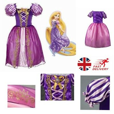 Fairytale Tangled Rapunzel Party Fancy Dress Princess Outfit Costume Kids Girls
