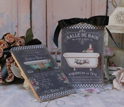 """Shabby Chic Vintage Country Cottage style Wall Decor Sign """"French Bath"""" Set of 2"""