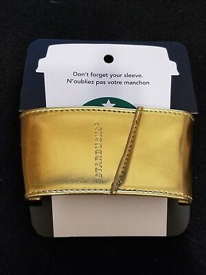 NEW Collectible Reusable Starbucks Gold Cup Sleeve Coffee Tea Hot Drink Koozie