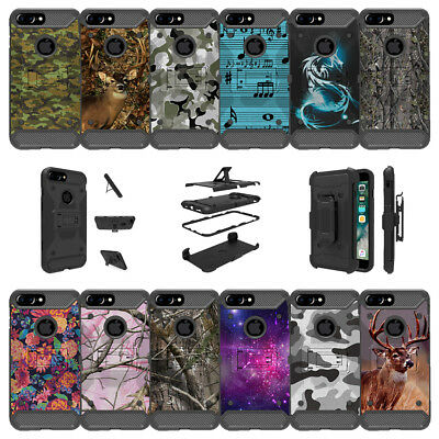 "For Apple iPhone 8 Plus (5.5"") Shockproof Dual Layer Stand Case - Camo Designs"