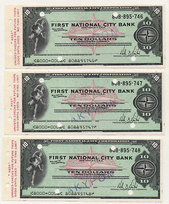 60's NY. First National City Bank 3 Consecutive Unused Traveler's Check 10 $