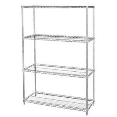 Wire Shelving Units with Four Shelves, 36 x 18 x 74 L x D x H