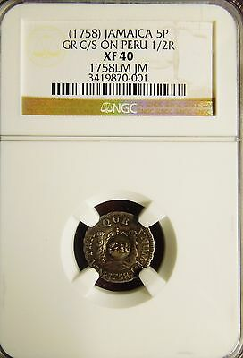 """Jamaica (1758) 5 Pence """"GR"""" countermark on a 1758 Peruvian 1/2 Real NGC XF40"""