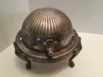 Vintage Silver Plate Butter Dome Dish W/ Glass Insert