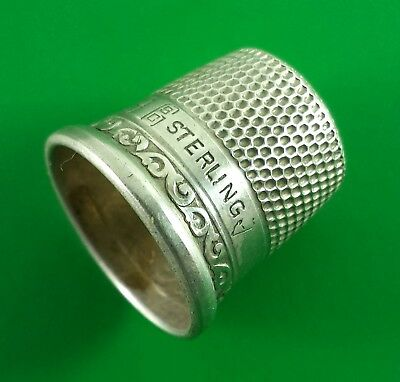 Vintage Silver Thimble Marked SCG Sterling #9 2.2 Grams 16 mm Dia. At Base X 17