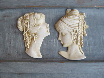 Two Vintage Chic Ornate French Country Style  Lady Wall Hanging Plaques /Project