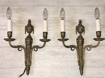 Antique French Empire Pair Bronze Brass Wall Sconces
