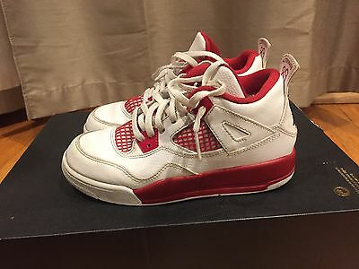 2015 Youth Nike Air Jordan IV 4 Alternate '89 White Red Size 1Y Used Rare NDS