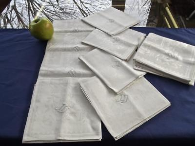 "12 Vintage Unused White Irish Linen Celtic Art Deco Damask 20"" Napkins Mono LD"