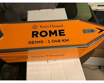 Veuve Clicquot ROME to Reims Champagne Arrow Tin Street Sign - No Bottle