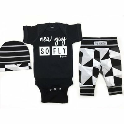 Baby Unisex Short Sleeves Letter Printing Romper Abstract Printing Pants & Hat Q