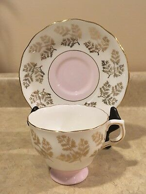 Colclough Pink Gold Leaves 7043 Footed Tea Cup and Saucer Bone China England