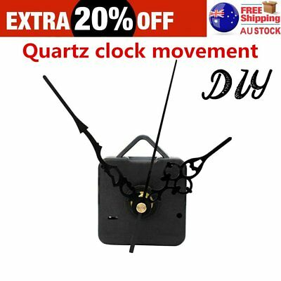 Quartz Wall Clock Movement Mechanism Black Hands DIY Repair Parts Kit G#N@W