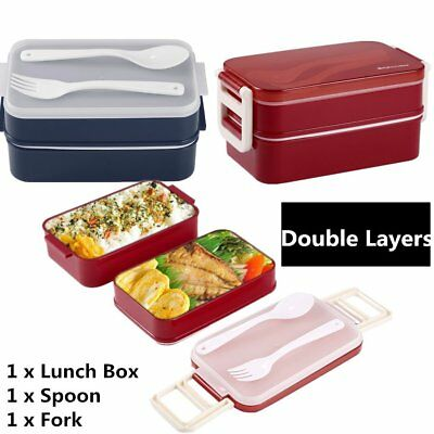 850ml Double Layer Microwave Lunch Box Food Storage Container Bento Boxes G@@