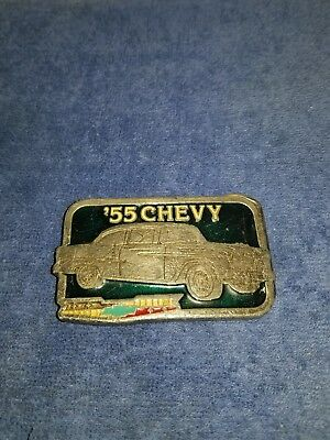 55 Chevy Pewter Belt Buckle 2297 Metal Chevrolet Car Vintage
