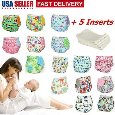 Washable Baby Waterproof Cloth Diaper Cover Cartoon Reusable Nappy  + 5 Inserts