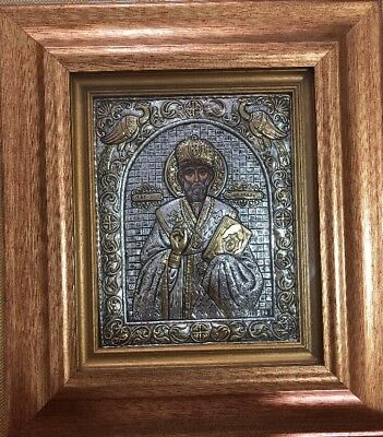 Holy Icon of St Nicholas from Silver & Gold 24k ARG 925