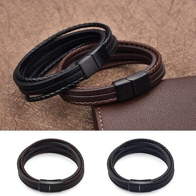 Punk Rock Multi-Layer Accessories Braided Leather Bracelet Gifts For Men Boys