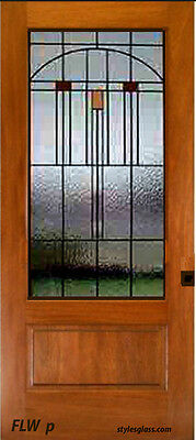 Pocket door Solid wood with stain glass panels WoW