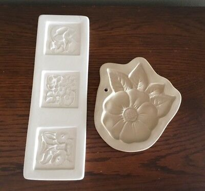 Two 1994 Brown Bag Paper And Cookie Art Molds, Floral & Blossom