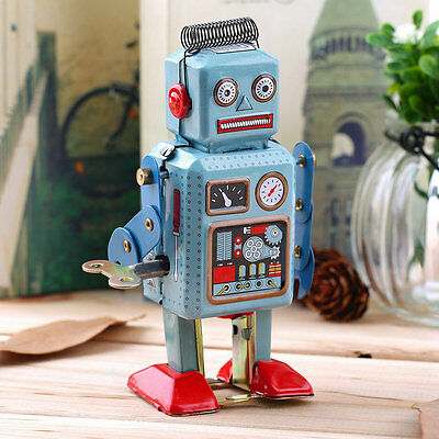 Vintage Mechanical Clockwork Wind Up Metal Walking Robot Tin Toy Kids X2ft BP
