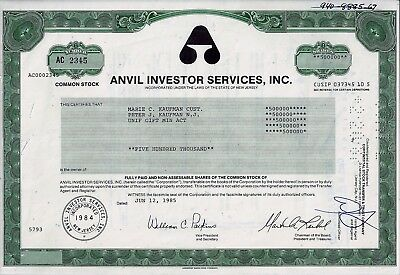 Anvil Investor Services Inc., New Jersey, 1985 (500.000 Shares) !!