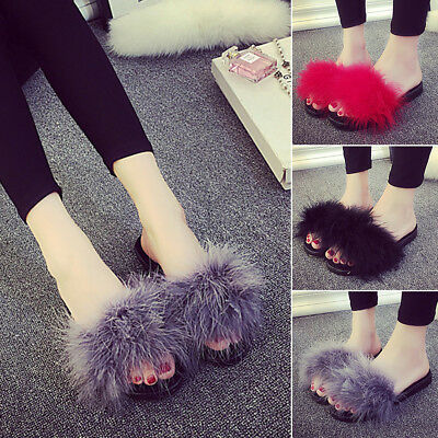 Women Ladies Fur Fluffy Sliders Sandals Flat Comfy Slides Slippers Satin Summer
