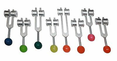 High Quality 8 Chakras + Soul weighted Tuning forks w Rubber Balls & Activator