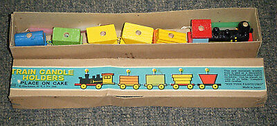 Vintage c1960's Wooden Train Candle Holders in Box