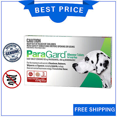Paragard Allwormer Tablets For Large Dogs 20 Kg 3 Tablets Red Pack by Merial