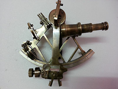 "Antique Style 9"" Solid Brass Nautical Sextant Marine Astrolabe Collectible Item."
