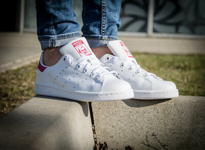 Youth / Womens Adidas Stan Smith Classic Sneakers New, White / Pink B32703