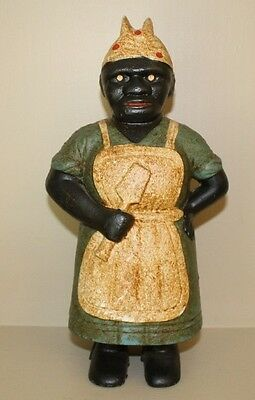 Cast Iron Aunt Jemima Large and Heavy Antique Black Americana Still Coin Bank