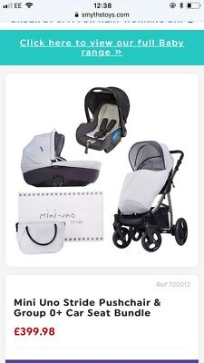 New Mini Uno Cloud Stride Travel System Pushchair 0+Car Seat Carrycot From Birth