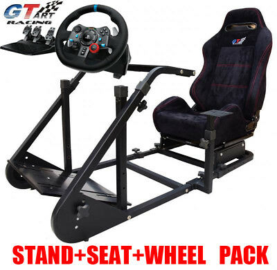GT ART Racing Cockpit Steering Wheel Stand+Logitech G29/G920 Steering Wheel PS