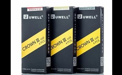 Genuine Uwell Crown 3 Tank Replacement Coils Pack Of 4, 0.5, 0.25 + Kanthal 0.4Ω