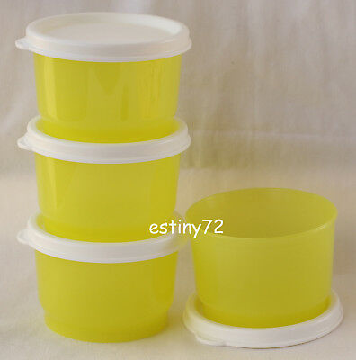 Tupperware Everyday Kids Snack Cups Set (4) Margarita Yellow & Snow White New