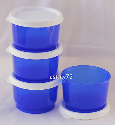Tupperware Everyday Kids Snack Cups Set (4) Tokyo Blue & Snow White New