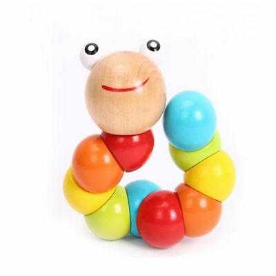 DIY Gift Wooden Infant Baby Children Twist Caterpillar Educational Insect Toy