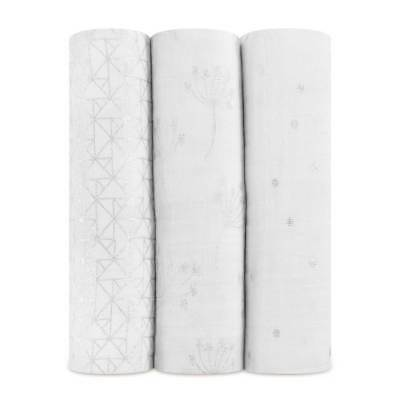 NEW aden + anais  3 Pack Classic Swaddles - Metallic Silver Dandelion
