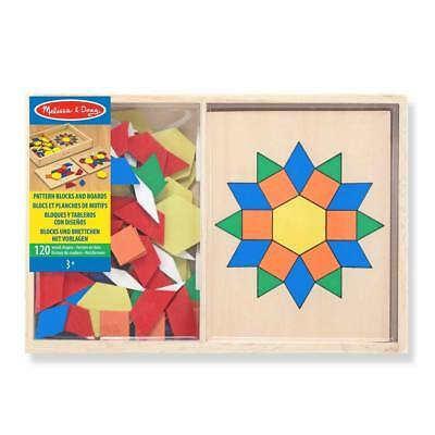 NEW Melissa & Doug Wooden Pattern Blocks And Boards