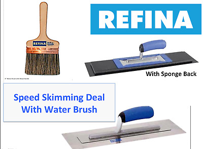 "REFINA 14"" Speed Skimming Set Deal Superflex & Plaziflex Trowel & 6"" Wall Brush"