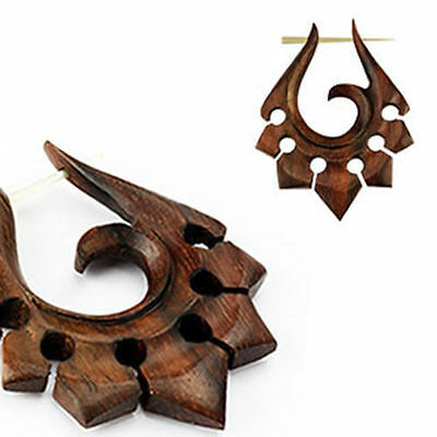 Pair of Organic Hand Carved Sono Wood Stirrup Hanger Earring Piercing